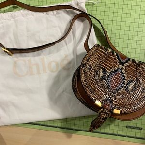 Chloé Mini Marcie Python Leather Saddle Bag